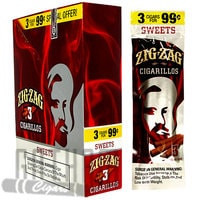 Zig Zag Cigarillos Sweet 3 for $0.99 upright & foilpack