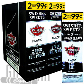 Swisher Sweets Cigarillos Black 2 for $0.99 upright & foilpack