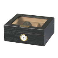 Capri Glass Top Black Oak Humidor