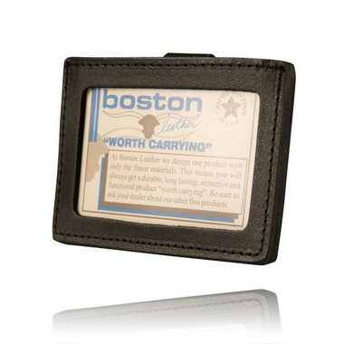 "Boston leather Horizontal ID Holder w/belt clip-fits up to 2.25"" Duty Belt"