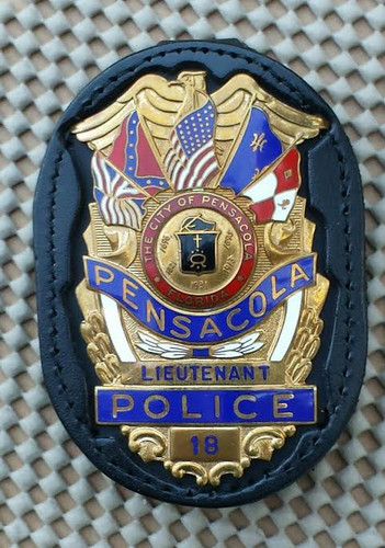 Black Leather (standard) DK612-686 Custom Cut for Pensacola Police Department Shield
