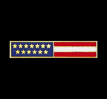 USA Flag Bar E5006 -Lifetime Warranty-Smith&Warren! This bar has 13 Distinctive Gold Stars representing our Original 13 Colonies. Dimensions (w x h) 1.85'' X 0.36''