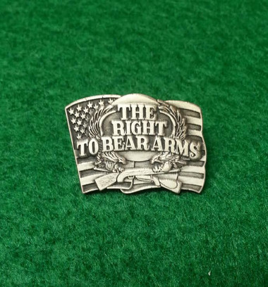 'Right To Bear Arms' cast pewter pin