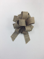 "4"" Burlap Bow - 24/ctn - Pull bow style, easy to open using the curling ribbon strings"