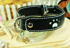Genuine Italian Leather Collar- White Paw