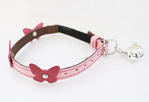 Genuine Italian Leather Collar- Pink Papillon