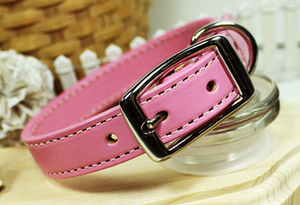 Lovely Pink Genuine Leather Collar