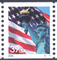 Scott # 3979 Plate # S1111 .39 lady liberty - center# 4B pink