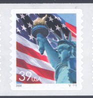 Scott # 3980 Plate # V1111 .39 lady liberty - center# 5M blue
