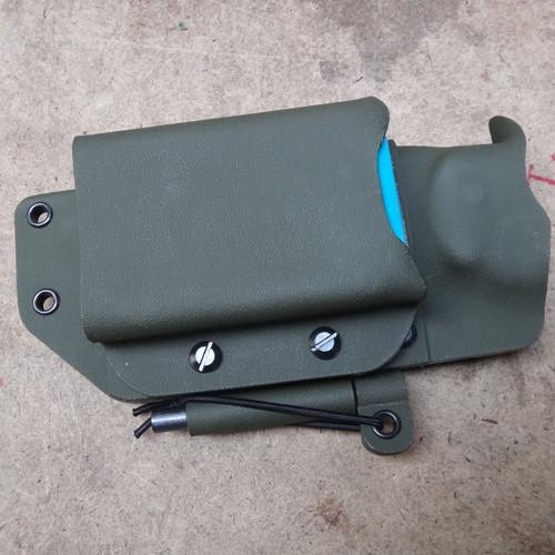 Regular size Altoids tin Holder on custom horizontal Kydex sheath