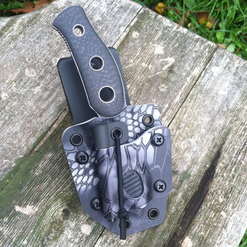 Urban Survival custom KYDEX knife sheath for concealable knives with an offset platform, Tek-Lok, Inova button light, and firesteel.