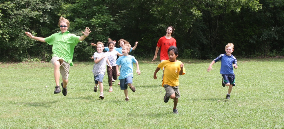 Campers running at Pine Ridge Day Camp near Huntsville AL