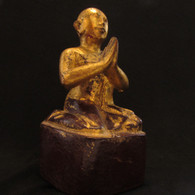 Gilded Antique 19th century Disciple Monk teak wood carving,  Lacquer, Burma