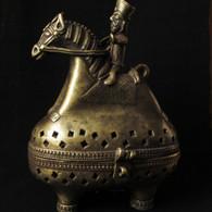 Bronze Rider on Horse Incense Burner, Bihar Regional Art, Terai Nepal -SOLD