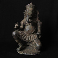 SOLD-Bronze Ganesha Solid Casting, 20th Century