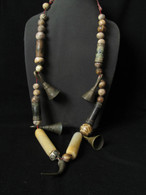 Very Old Pumtek Beads (Made from Petrified Wood) C1600 with Old Bronze-SOLD