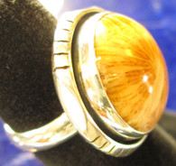 Agatized Fossil Coral Ring Size 8