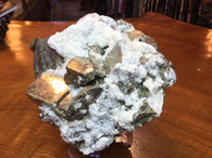 Pyrite Cubes covered with Calcite and Small Quartz Points