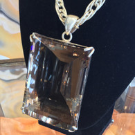 Emerald Cut Smokey Quartz in Sterling  Silver  Pendant 260 grams, about 950ct.