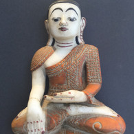19th Century Alabaster Buddha Shan Province Myanmar (Burma) With Carving on Robe
