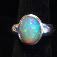 SOLD-Ethiopia Opal Ring with Stunning Color 9 grams Size 8 1/2