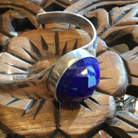 Faceted Afghanistan AA Lapis Bracelet In Handcrafted Sterling Silver 40.7 grams