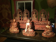 SOLD-Ava Peroiod Bronze depicting four Buddha's.  Lacquered and Gold Gilded