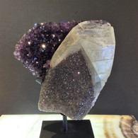 Calcite Crystal growing on Sparkling Gray Amethyst Druzy growing on a wall of deep Purple Amethyst, Uruguay