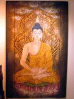Oil On Teak Lana Thai Style Buddha,