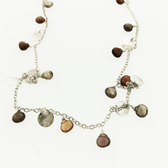 Tourmaline and silver disc necklace