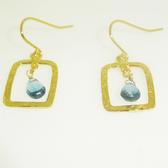 14 karat gold vermeil london blue topaz hammered rectangle drop earrings