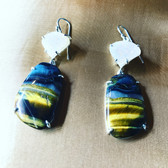 blue tiger eye sterling silver drusy earrings