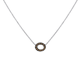 14 karat white gold pave link necklace