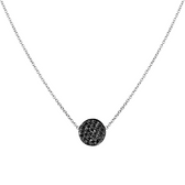 14 karat white gold black diamond pave disc pendant