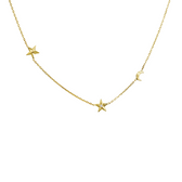 14 karat yellow gold diamond celestial necklace!