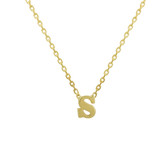 Solid Gold Tiny Initial Necklace