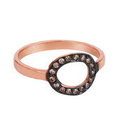 Champagne Diamond Solid Gold Pave Open Link Cocktail Ring