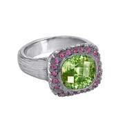 Peridot Sterling Silver Hand Made Ring With Pink Sapphires