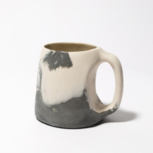 Black and white marbled mug