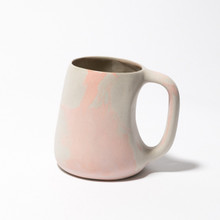 Purple, orange and white marbled mug