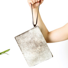 Salt Pepper & Black Leather Zip Clutch - Staff