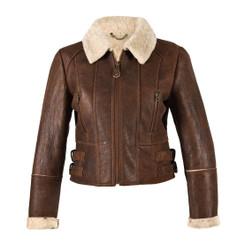 Ladies Short Sheepskin Jacket - Ella (Brick Forest)