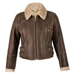 Ladies Short Sheepskin Jacket - Ella (Chocolate Forest)