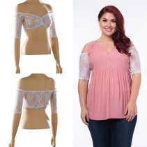 Bandeau 1/2 Sleeve White Lace Sleevey Wonders - Plus Size