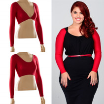 Basic Long Sleeve Red Jersey Sleevey Wonders - Plus Size
