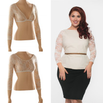 Basic 3/4 Length Ivory Lace Sleevey Wonders - Plus Size