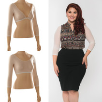 Basic 3/4 Length Ivory Mesh Sleevey Wonders - Plus Size