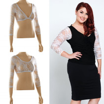Basic 3/4 Length White Lace Sleevey Wonders - Plus Size