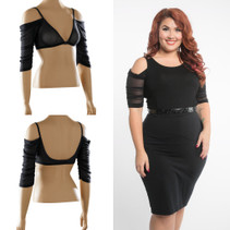 Waterfall 1/2 Sleeve Black Mesh Sleevey Wonders - Plus Size