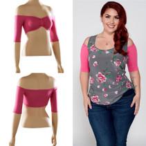 Bandeau 1/2 Sleeve Pink Jersey Sleevey Wonders - Plus Size
